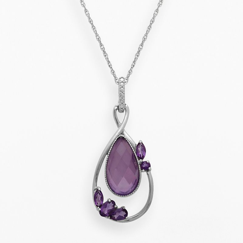 Chloe and Zoe Sterling Silver Amethyst and White Quartz Teardrop Pendant