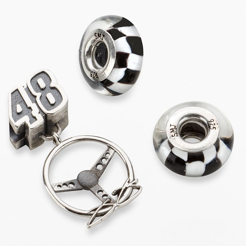 Insignia Collection NASCAR Jimmie Johnson Sterling Silver 48 Steering Wheel Charm and Bead Set