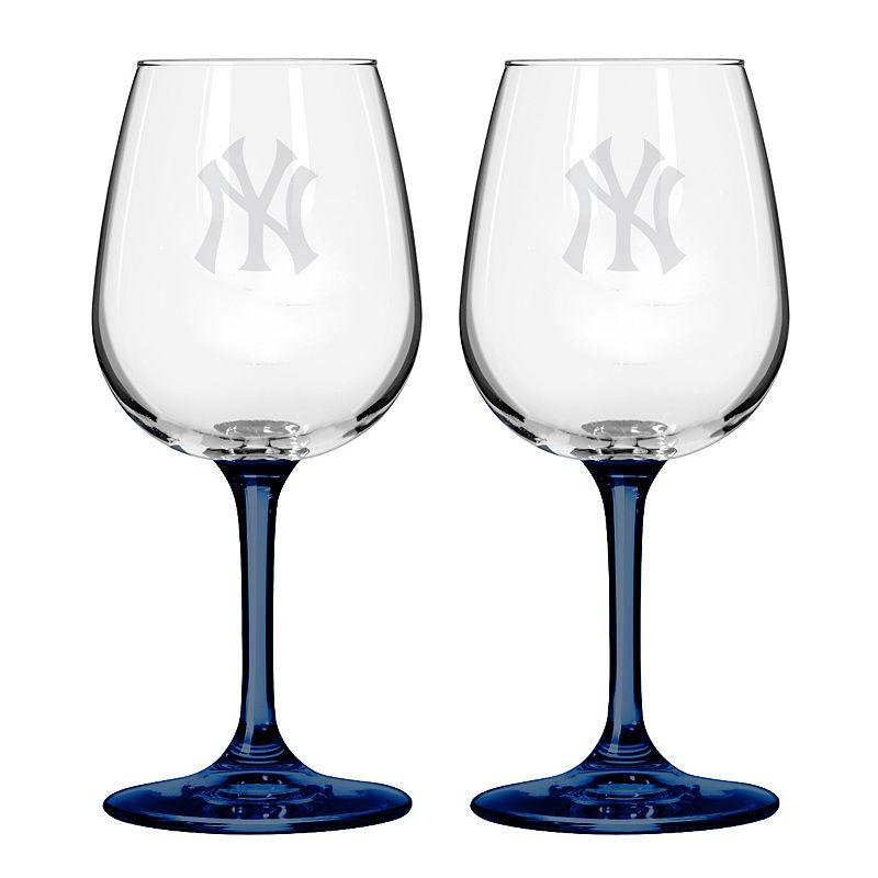 New York Yankees 2-Piece Wine Glass Set