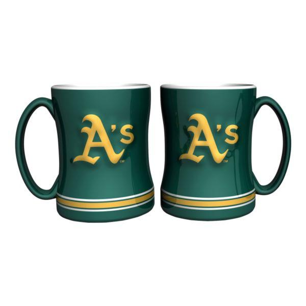 Oakland Athletics 2-pc. Relief Coffee Mug Set