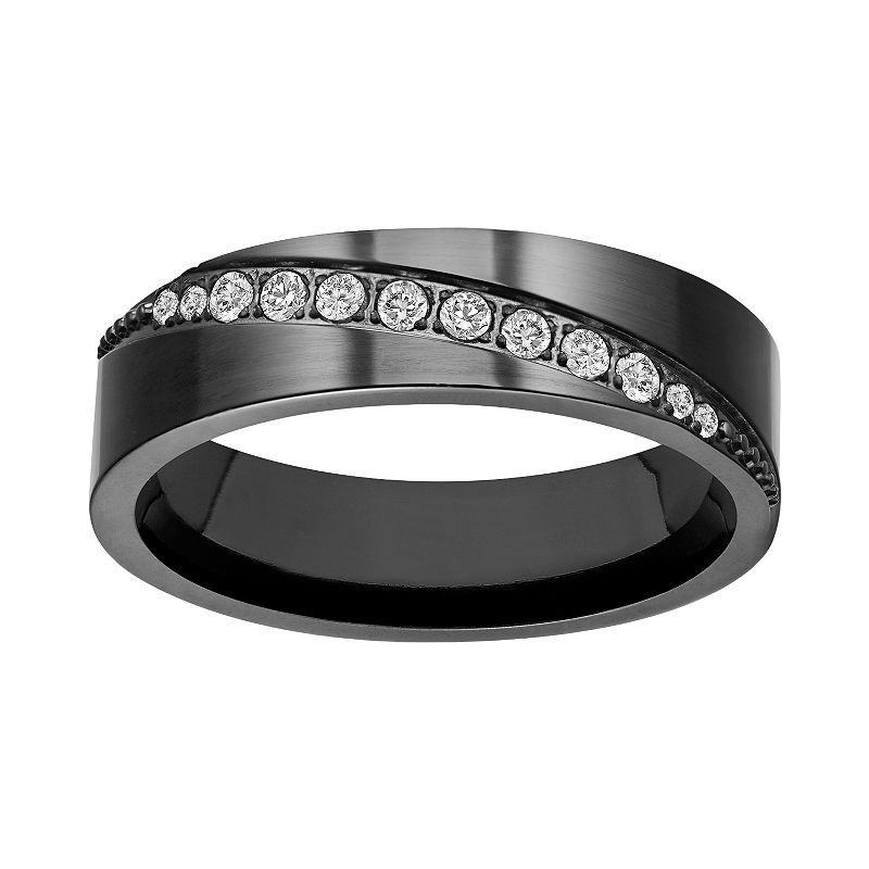 Black Ion-Plated Titanium Cubic Zirconia Diagonal Stripe Wedding Band - Men
