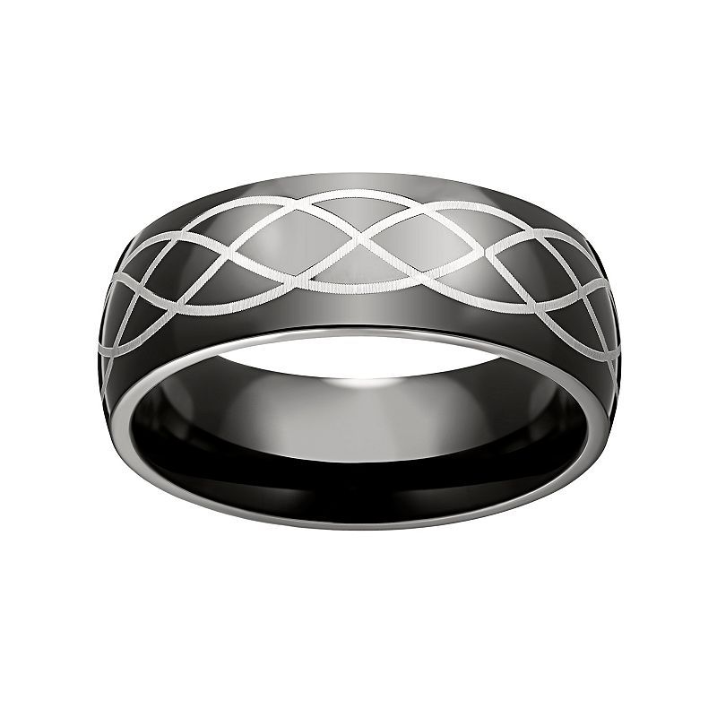 Black Ion-Plated Stainless Steel and Stainless Steel Celtic Band - Men