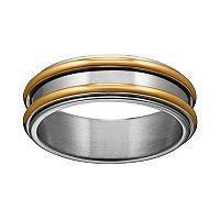 Yellow Ion-Plated Titanium & Titanium Striped Spinner Band