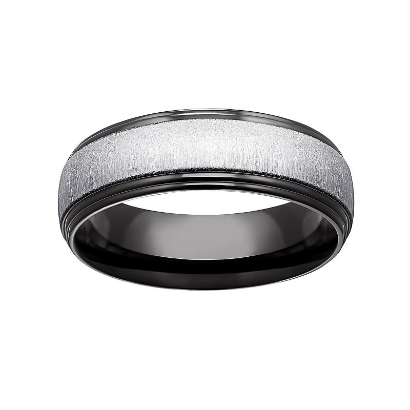 Black Ion-Plated Titanium and Titanium Beveled Band - Men