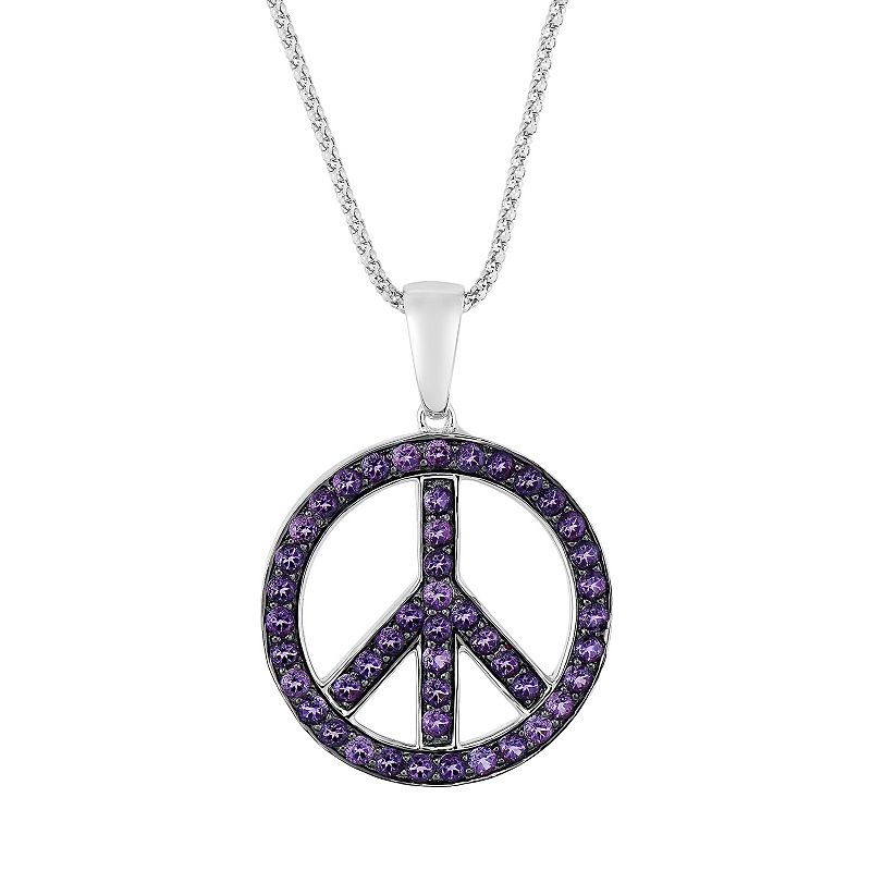 Oro Leoni Sterling Silver Amethyst Peace Sign Pendant - Made with Genuine Swarovski Gemstones