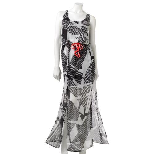 Juniors' City Triangles Chiffon Double Slit Maxi Dress