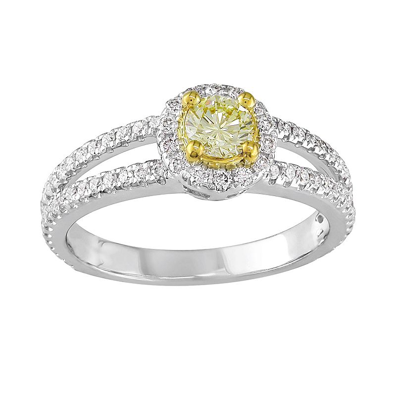 Round-Cut Fancy Yellow Diamond Halo Engagement Ring in 14k White and Yellow Gold (1 ct. T.W.)