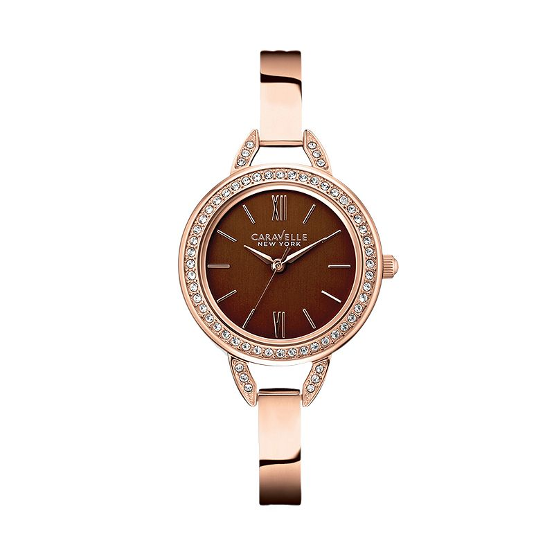 Caravelle New York by Bulova Women's Crystal Stainless Steel Bangle Watch - 44L134