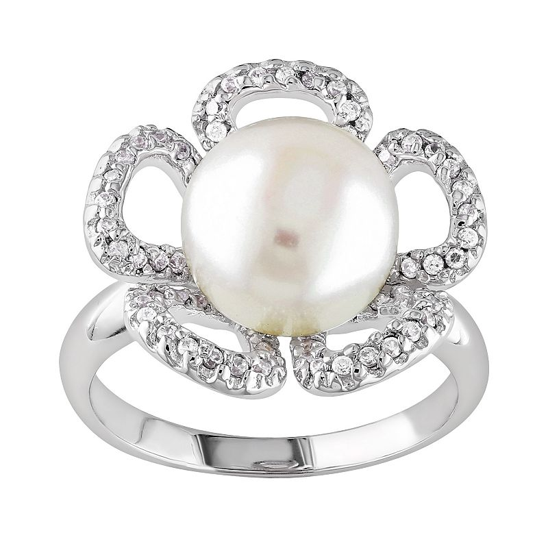Sterling Silver Freshwater Cultured Pearl and White Topaz Flower Ring