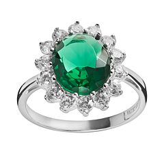 Sophie Miller Sterling Silver Simulated Emerald & Cubic Zirconia Halo Ring