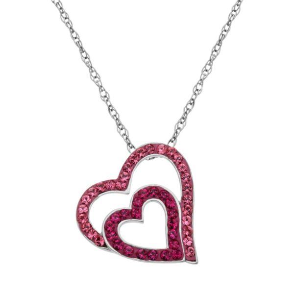 Artistique Sterling Silver Crystal Tilted Heart Pendant - Made with Swarovski Crystals