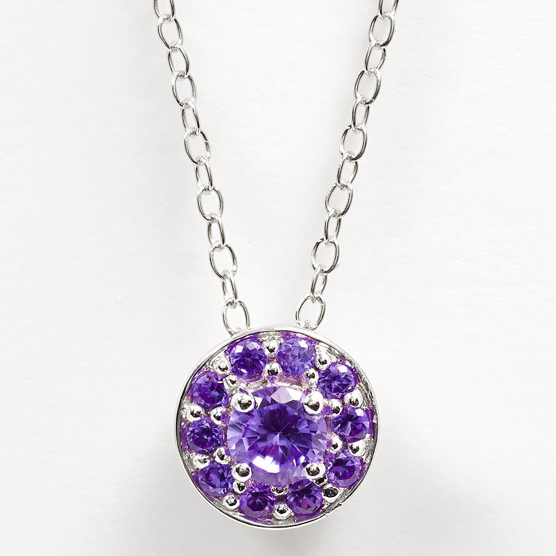 Sterling Silver Amethyst Halo Pendant