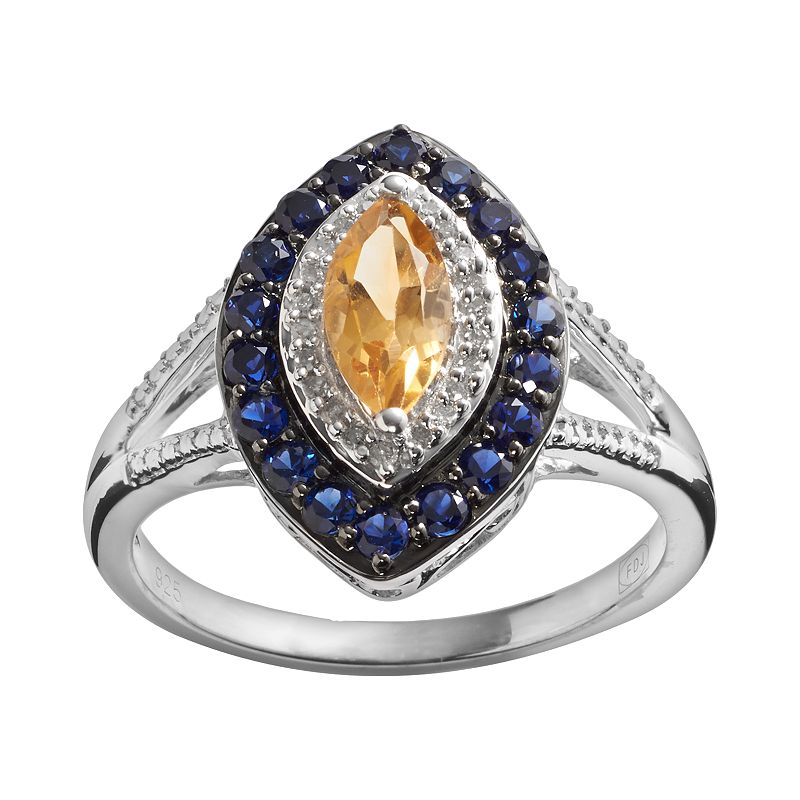 Sterling Silver Citrine, Lab-Created Sapphire and Diamond Accent Marquise Halo Ring
