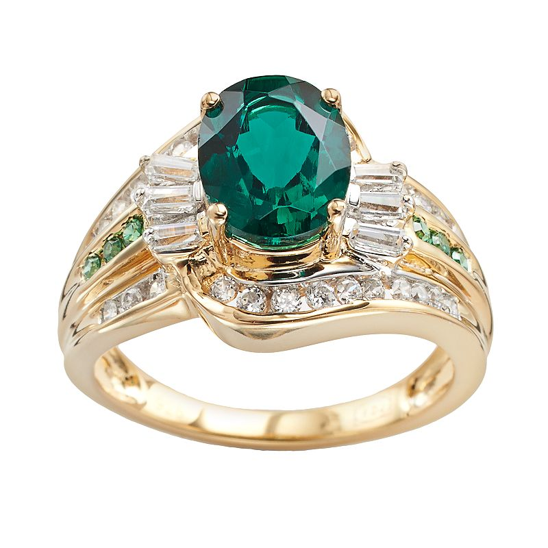 10k Gold Over Silver and Sterling Silver Lab-Created Emerald and Lab-Created White Sapphire Swirl Ring