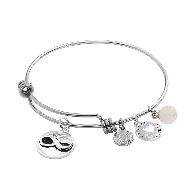 love this life Stainless Steel and Silver-Plated Rose Quartz Forever Friends Infinity Charm Bangle Bracelet