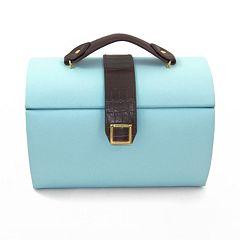 Bey-Berk Blue & Brown Crocodile Leather Jewelry Box & Travel Case Set