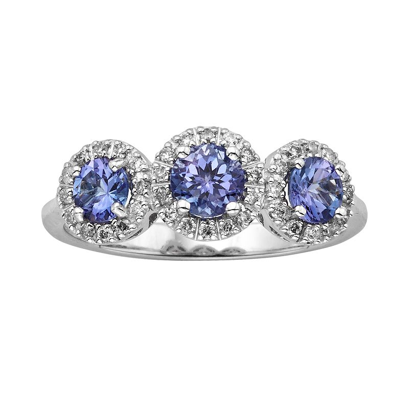 The Regal Collection 14k White Gold Genuine Tanzanite and 1/5-ct. T.W. Diamond 3-Stone Halo Ring