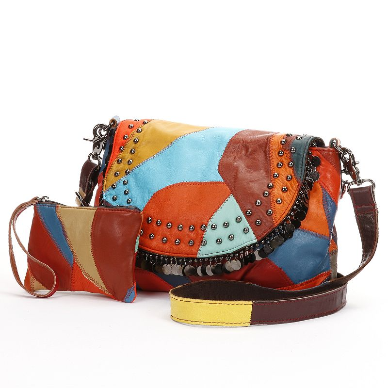 AmeriLeather Jingles Patchwork Leather Convertible Crossbody Bag