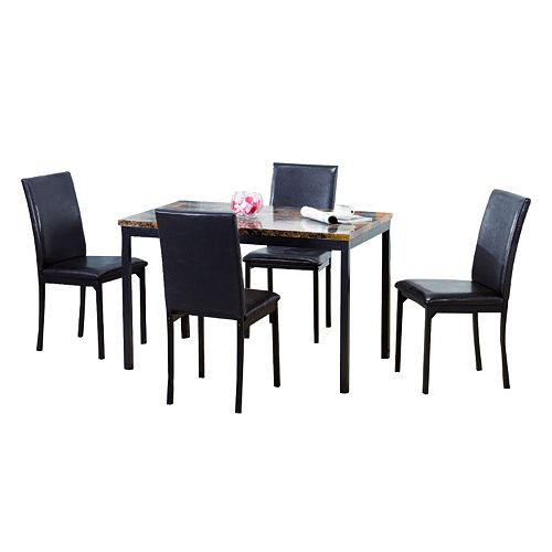 Pc Faux Marble Dining Table And Chairs Set