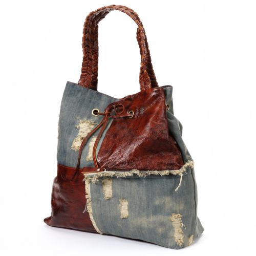 AmeriLeather Trisha Ripped Denim Tote