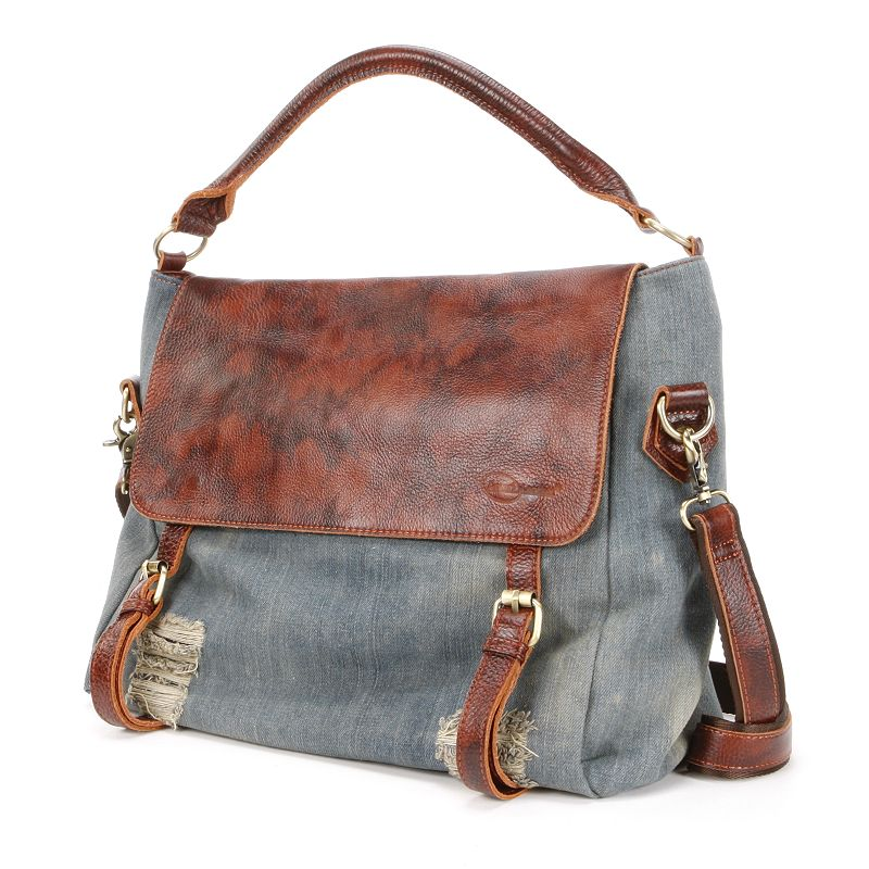 AmeriLeather Hayes Distressed Denim Messenger Bag