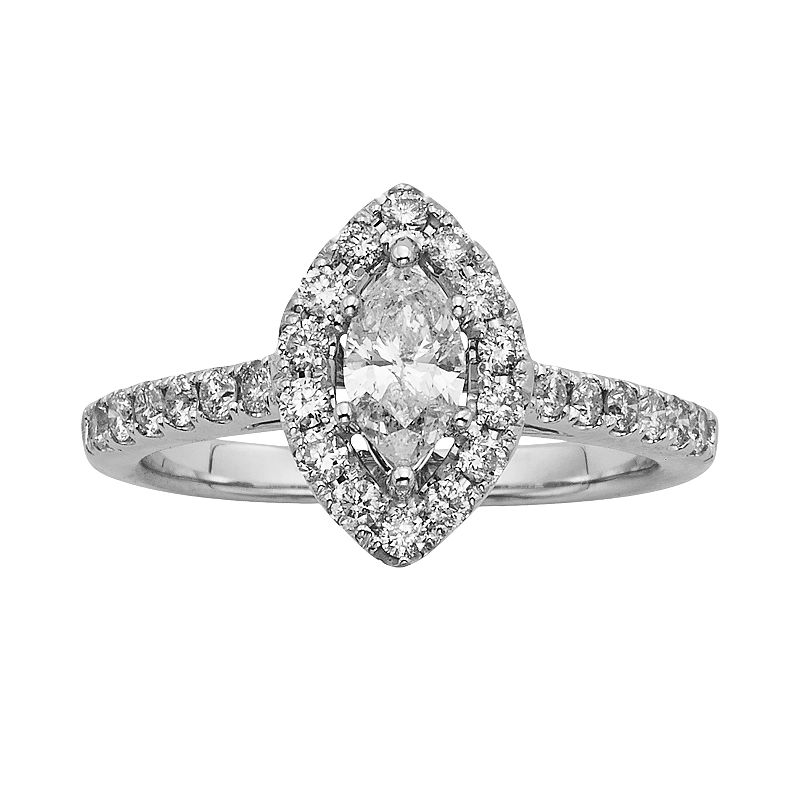 Marquise-Cut IGL Certified Diamond Halo Engagement Ring in 14k White Gold (1-ct. T.W.)