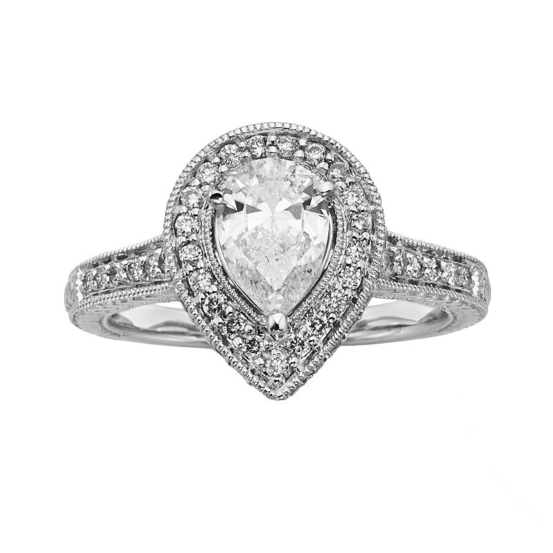 Pear-Cut IGL Certified Diamond Halo Engagement Ring in 14k White Gold (1 1/2-ct. T.W.)