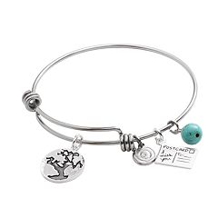 love this life Stainless Steel & Silver-Plated Simulated Turquoise \