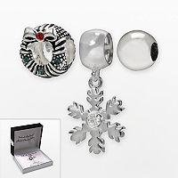 Individuality Beads Sterling Silver Crystal Wreath Bead & Snowflake Charm Set
