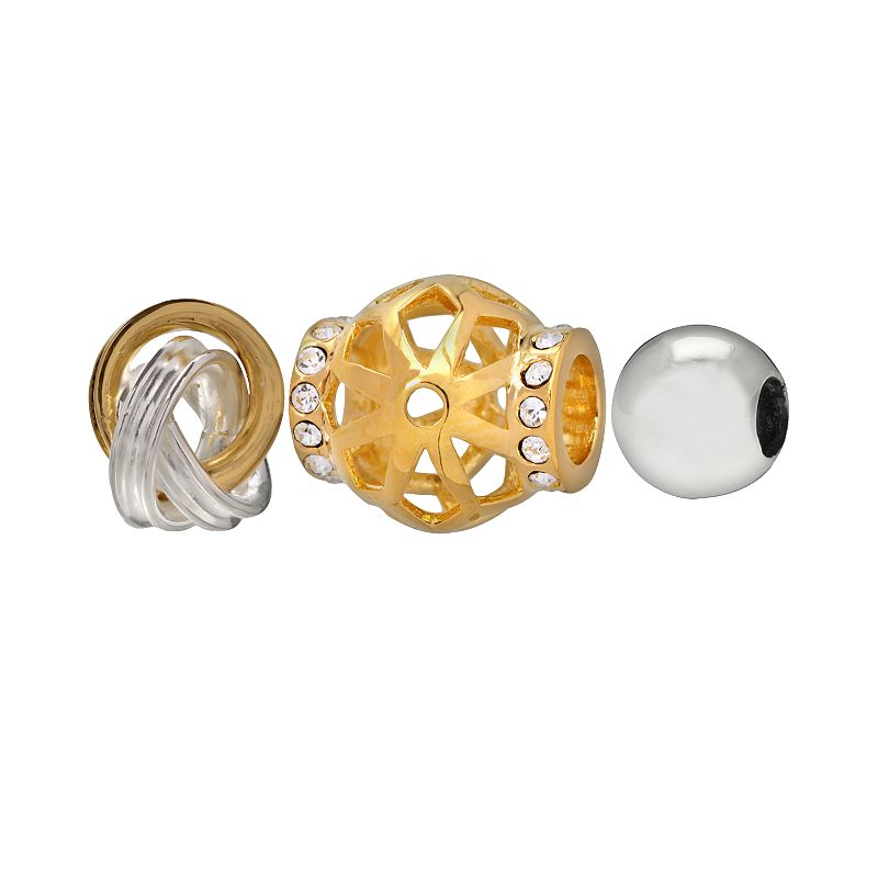 Individuality Beads 14k Gold Over Silver and Sterling Silver Crystal Openwork, Love Knot and Spacer Bead Set