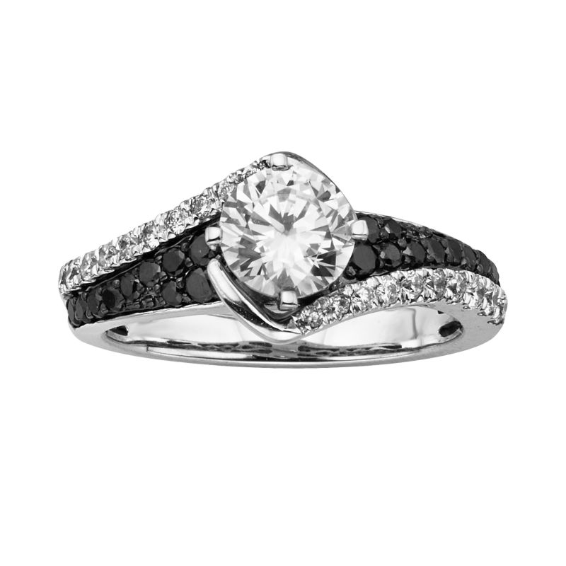 Popular cheap wedding rings for newlyweds Black rhodium diamond engagement ring