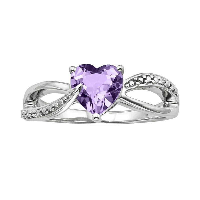 Sterling Silver Amethyst and Diamond Accent Heart Bypass Ring