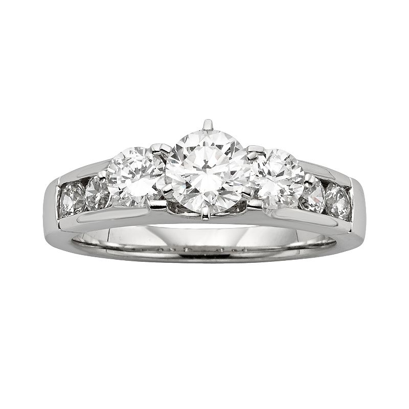 Diamonore Round-Cut GGL Certified Simulated Diamond 3-Stone Engagement Ring in Sterling Silver (1 1/2 ct.)