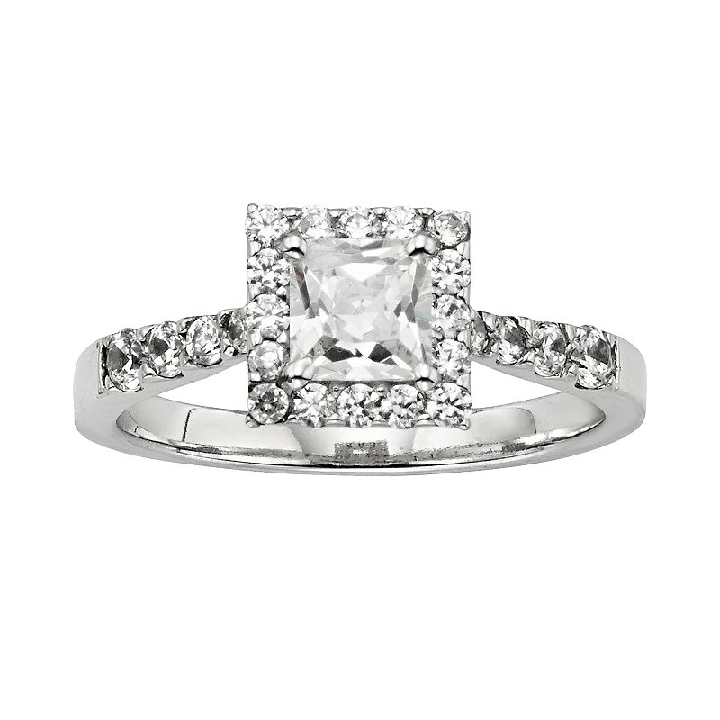 Diamonore Princess-Cut Simulated Diamond Halo Engagement Ring in Sterling Silver (1 1/2 ct.)
