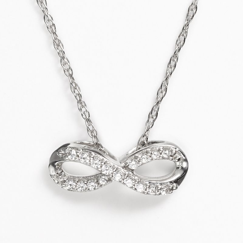 Diamond Petites 10k White Gold 1/10-ct. T.W. Diamond Infinity Pendant
