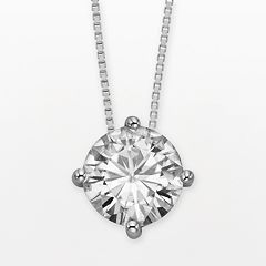 Forever Brilliant 14k White Gold Round-Cut 3 1/10-ct. T.W. Lab-Created Moissanite Pendant by