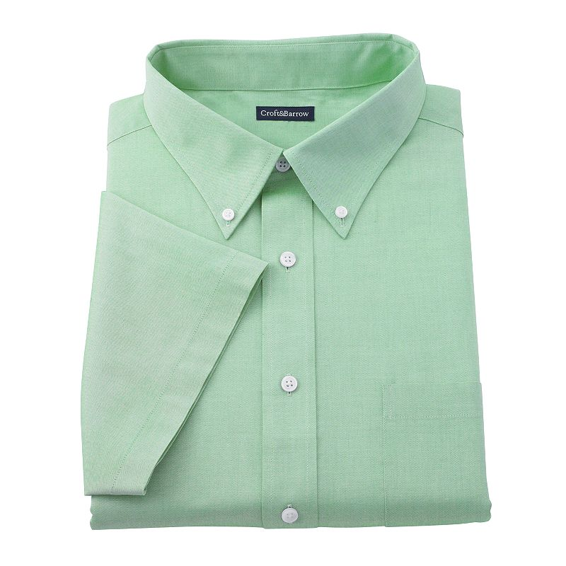 Big tall croft barrow solid pinpoint oxford button for Tall collar dress shirts