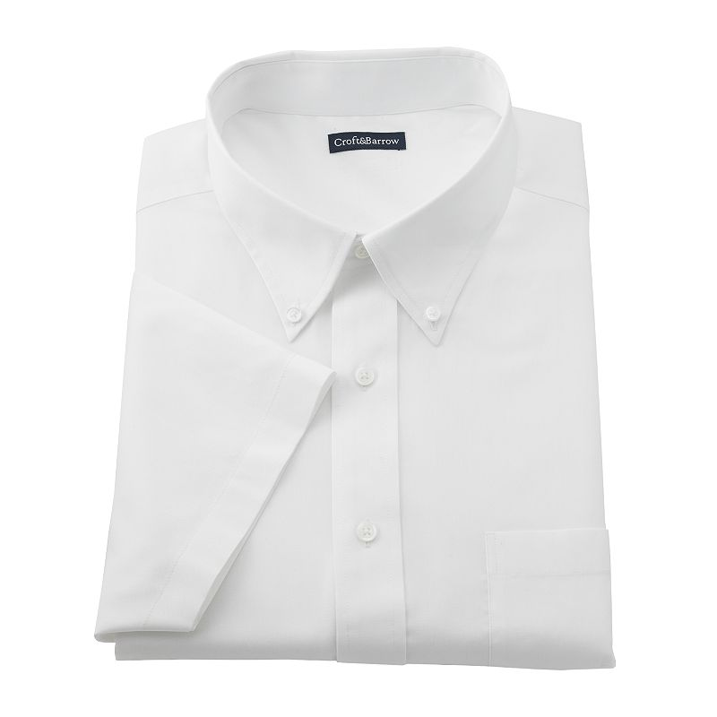 Big & Tall Croft & Barrow® Solid Pinpoint Oxford Button-Down Collar Dress Shirt