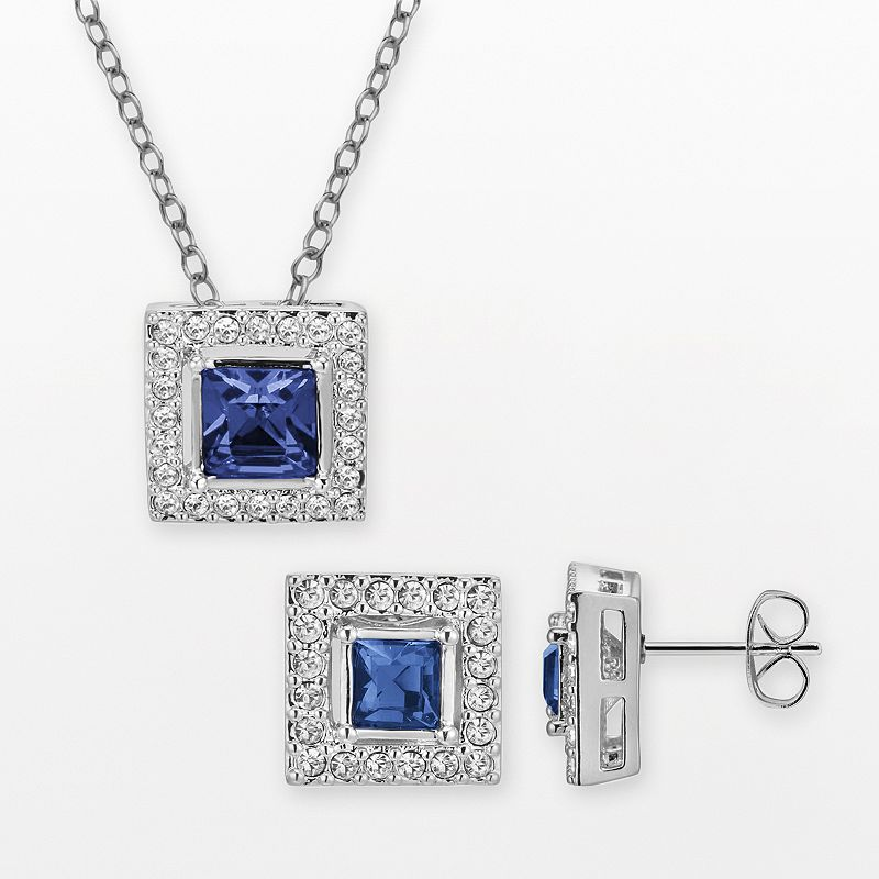 Silver-Plated Simulated Crystal Square Halo Pendant and Stud Earring Set