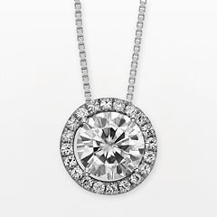 Forever Brilliant 14k White Gold Round-Cut 1 2/3-ct. T.W. Lab-Created Moissanite Halo Pendant by