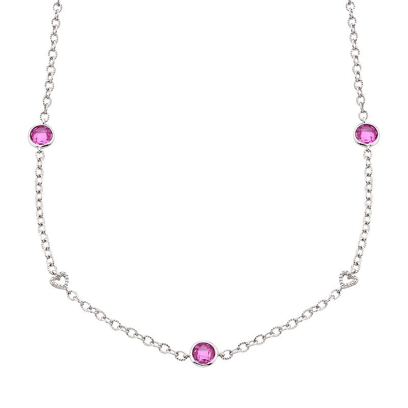 Silver-Plated Lab-Created Pink Sapphire and 1/10-ct. T.W. Diamond Heart Link Station Necklace