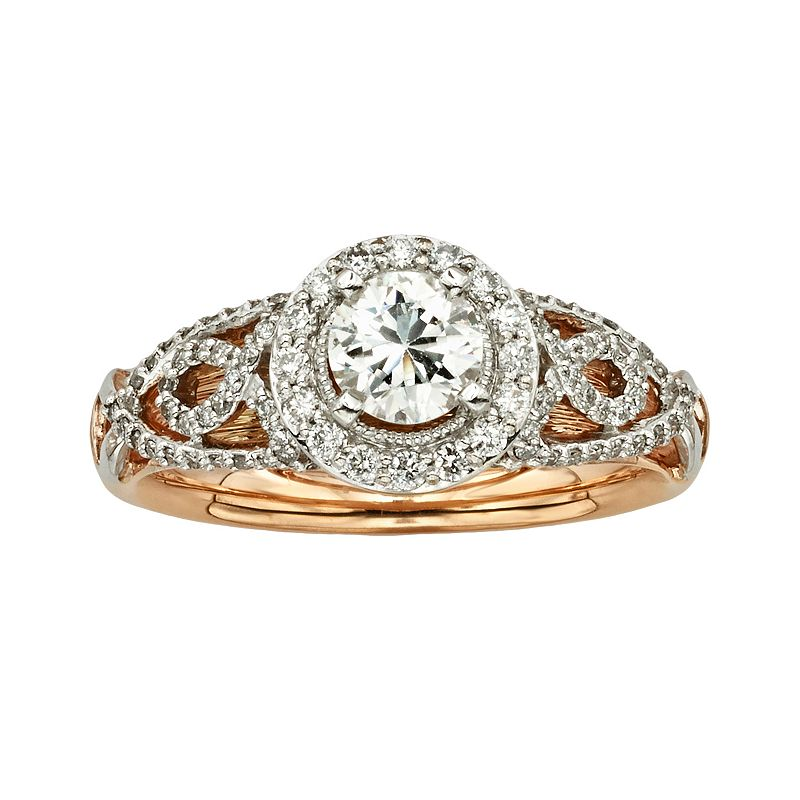 Diamonds And Lace Round-Cut IGL Certified Diamond Halo Engagement Ring in 14k Rose Gold and 14k White Gold (1 ct. T.W.)