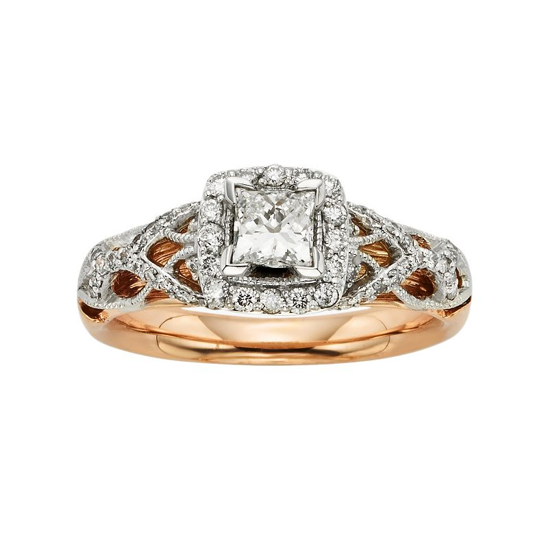 Diamonds and Lace IGL Certified Diamond Square Halo Engagement Ring in 14k White and Rose Gold (1 ct. T.W.)