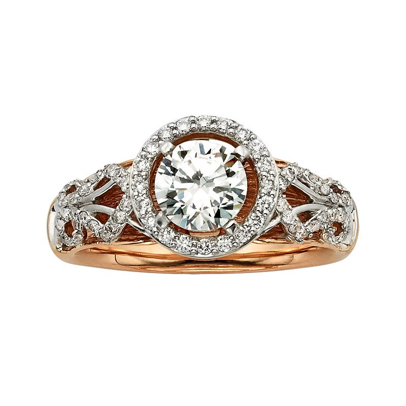 Diamonds And Lace Round-Cut IGL Certified Diamond Halo Engagement Ring in 14k Rose Gold and 14k White Gold (1 2/5 ct. T.W.)