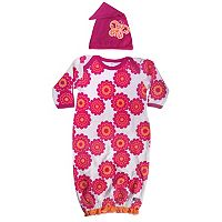 Sozo Floral Sleeper Gown & Cap Set