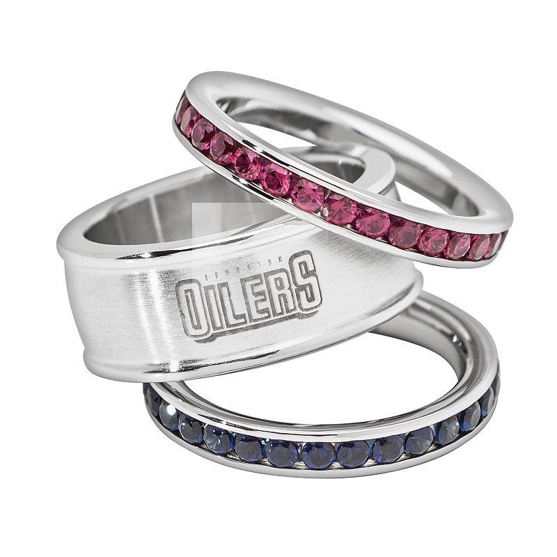 LogoArt Edmonton Oilers Stainless Steel Crystal Stack Ring Set