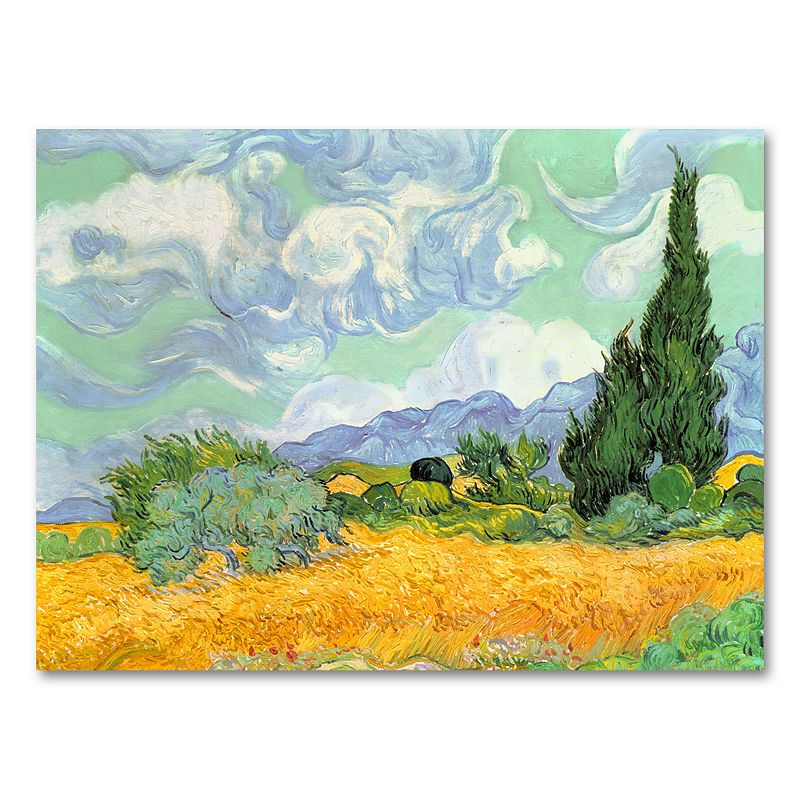 24 x 32 Wheatfield with Cypresses c. 1889 Canvas Wall Art by Vincent van Gogh