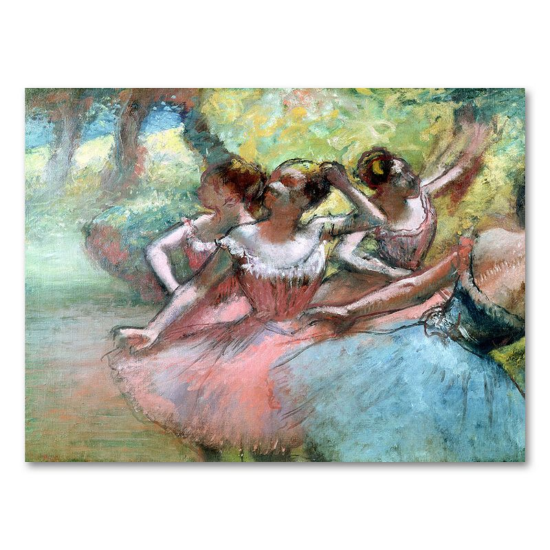 35 x 47 Four Ballerinas on the Stage Canvas Wall Art by Edgar Degas