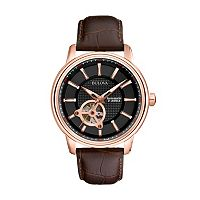 Bulova Men's Mechanical Leather Automatic Skeleton Watch - 97A109