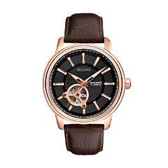 Bulova Men's Mechanical Leather Automatic Skeleton Watch 97A109